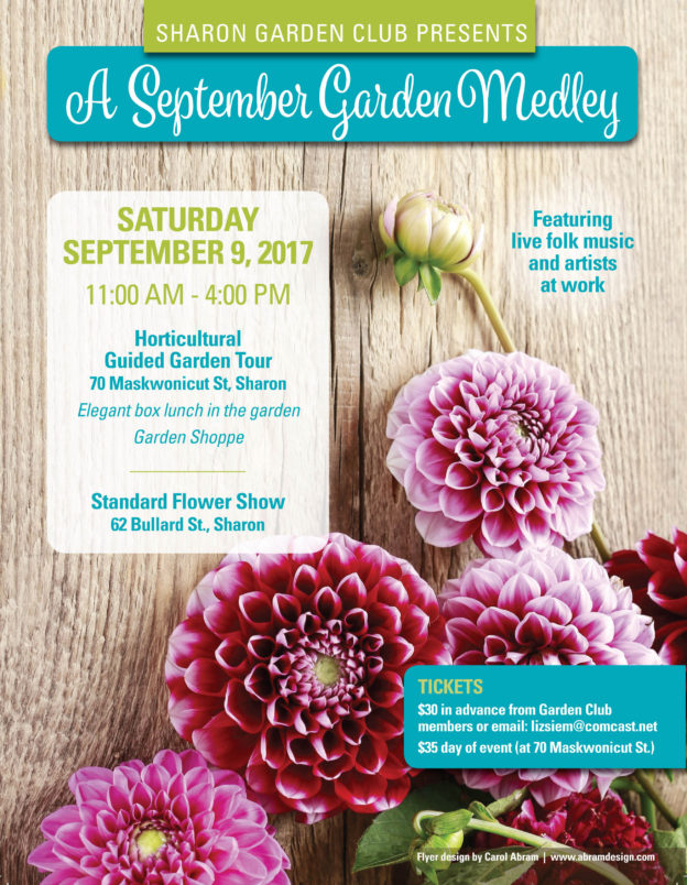 Sharon Garden Club Flyer for September Garden Medley event