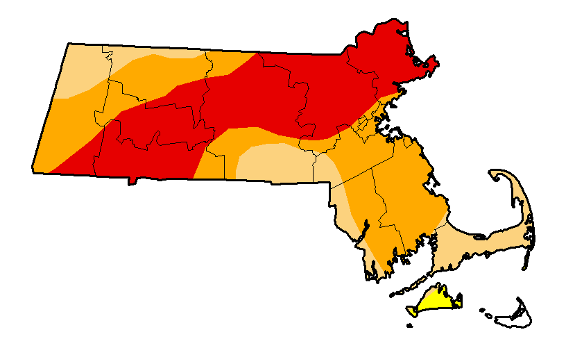 MA drought map showing more than one third of the state in extreme drought condition
