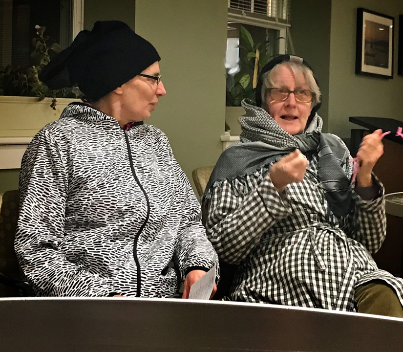 Carol Lundeen and Brenda Minihan as black-capped chickadees in the Sharon Garden Club's January 2019 presentation about the ecological harm of exotic invasive plants