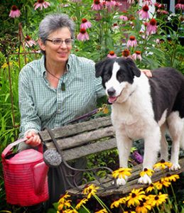 Garden-911 owner Carol Lundeen and her dog, Harper.