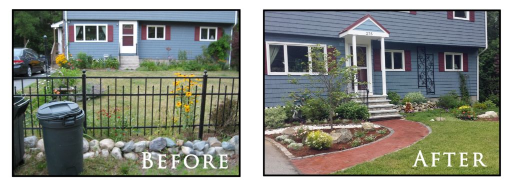 Sharon, MA, landscape before and after photos